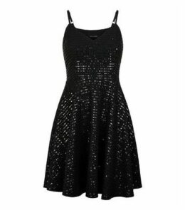 Black Sequin Strappy Skater Dress New Look