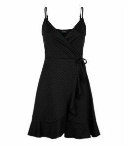 Black Velvet Spot Frill Wrap Dress New Look