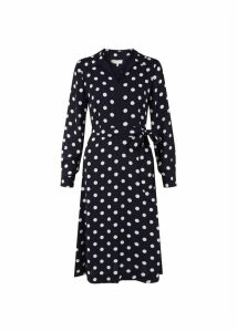 Georgiana Spot Dress Navy Ivory