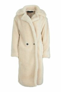 Womens Oversized Teddy Faux Fur Coat - white - M, White