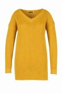 Womens Plus Rib V Neck Jumper Dress - yellow - 16, Yellow