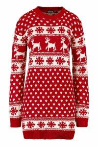 Womens Tall Reindeers & Snowman Christmas Jumper Dress - red - M/L, Red