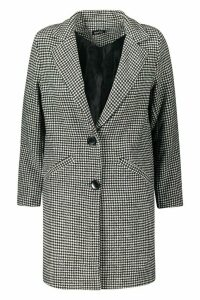 Womens Petite Dogtooth check Oversized Wool Look Coat - black - M, Black