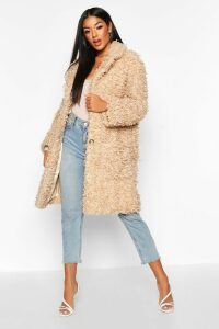 Womens Premium Teddy Faux Fur Longline Coat - Brown - 16, Brown