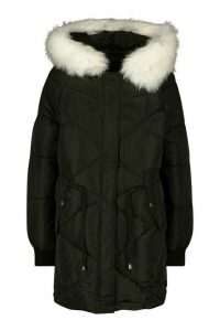 Womens Drawcord Waist Quilted Parka - black - 16, Black