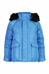 Womens Faux Fur Trim Sporty Parka - blue - 14, Blue