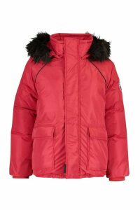 Womens Faux Fur Trim Sporty Parka - red - 16, Red