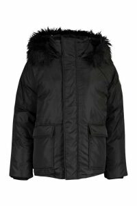 Womens Faux Fur Trim Sporty Parka - black - 16, Black