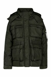 Womens Pocket Detail Sporty Parka - black - 16, Black