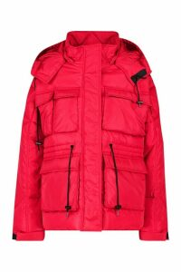 Womens Pocket Detail Sporty Parka - red - 14, Red