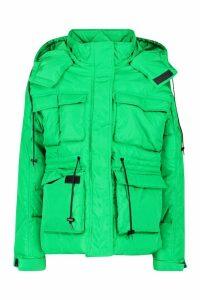 Womens Pocket Detail Sporty Parka - green - 16, Green