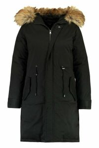 Womens Plus Faux Fur Trim Parka - black - 24, Black