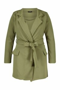 Womens Plus Oversized Tie Blazer - green - 24, Green