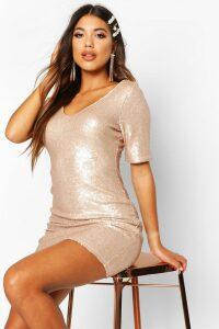 Womens Sequin Short Sleeve Bodycon Dress - metallics - 16, Metallics