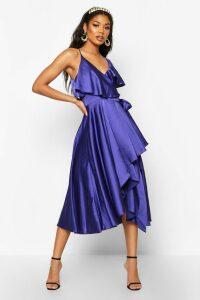 Womens Satin Wrap Detail Skater Dress - blue - 16, Blue