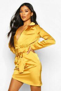 Womens Satin Wrap Detail Dress - brown - 14, Brown