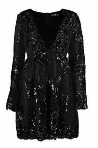 Womens Ellie Sequin and Mesh Long Sleeve Skater Dress - black - 12, Black