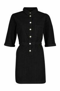 Womens Popper Front Denim Dress - black - 14, Black
