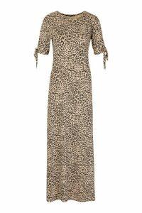 Womens Tall Leopard Print Tie Sleeve Midi Dress - multi - 16, Multi