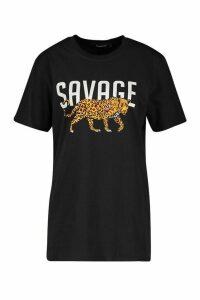 Womens Tall 'Savage' Leopard Slogan T-Shirt - black - M, Black
