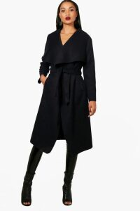 Womens Belted Waterfall Coat - navy - S/M, Navy
