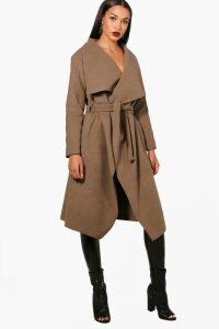 Womens Belted Waterfall Coat - beige - M/L, Beige