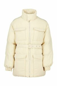 Womens Tall Belted Padded Coat - white - 6, White