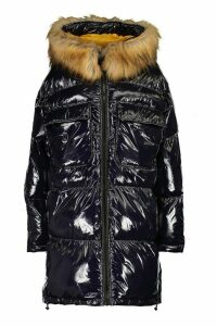 Womens Tall Faux Fur Hood High Shine Padded Coat - navy - 16, Navy