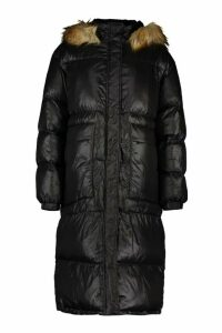 Womens Tall Longline Faux Fur Hood Padded Coat - black - 16, Black