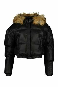 Womens Tall Faux Fur Hooded Crop Padded Coat - black - 16, Black