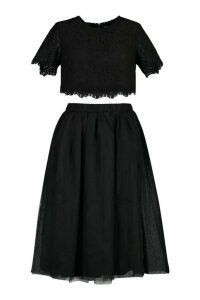 Womens Woven Lace Top & Contrast Midi Skirt Co-Ord - black - 16, Black