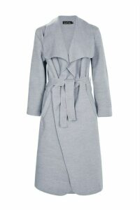 Womens Belted Shawl Collar Coat - grey - One Size, Grey