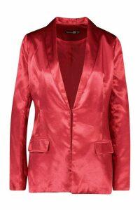 Womens Tall Satin Blazer - red - 16, Red