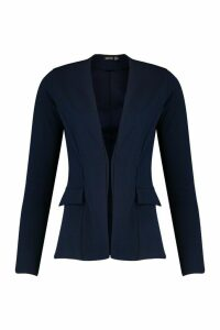 Womens Collarless Blazer - navy - 8, Navy