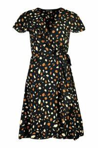 Womens Woven Spot Wrap Midi Tea Dress - black - 14, Black