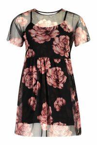 Womens Large Rose Print Mesh Smock Dress - black - 8, Black