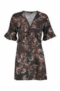 Womens Woven Paisley Ruffle Smock Dress - black - 16, Black