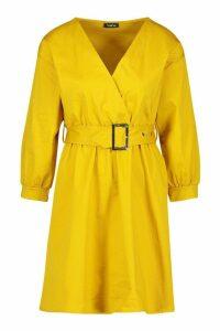 Womens Woven Belted Wrap Mini Dress - yellow - 14, Yellow