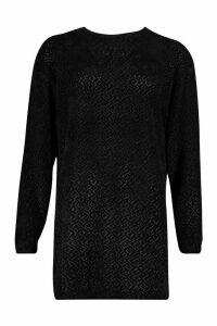 Womens Velvet Textured Sweat Dress - black - 14, Black