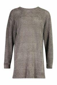 Womens Velvet Textured Sweat Dress - grey - 8, Grey