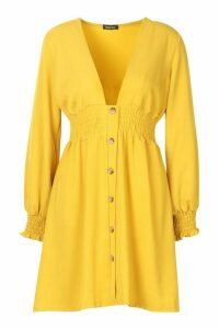 Womens Woven Plunge Button Through Shift Dress - yellow - 16, Yellow