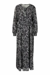 Womens Ditsy Floral Tiered Maxi Smock Dress - black - 16, Black