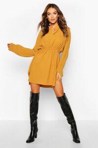 Womens Woven Shirred Waist Shirt Dress - yellow - 16, Yellow