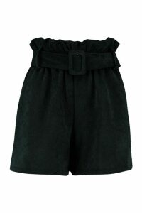 Womens Cord Paperbag Waist Shorts - black - 14, Black