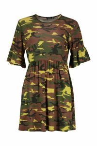 Womens Camo Smock Dress - green - 16, Green