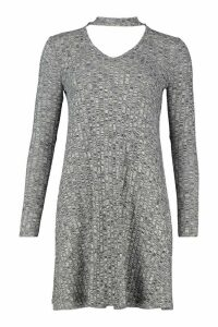 Womens Rib Choker Long Sleeve Swing Dress - grey - 8, Grey