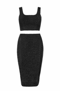 Womens Metallic Crop & Midi Skirt Co-Ord - black - 14, Black