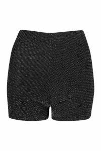 Womens Glitter Highwaist Hot trousers - black - 8, Black