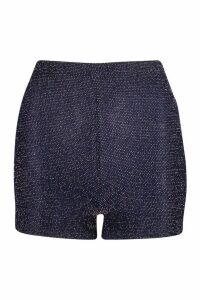 Womens Glitter Highwaist Hot trousers - navy - 16, Navy