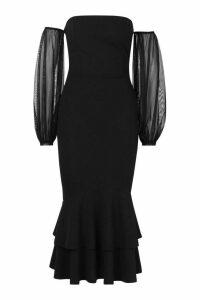 Womens Off Shoulder Mesh Sleeve Fishtail Midaxi Dress - black - 16, Black